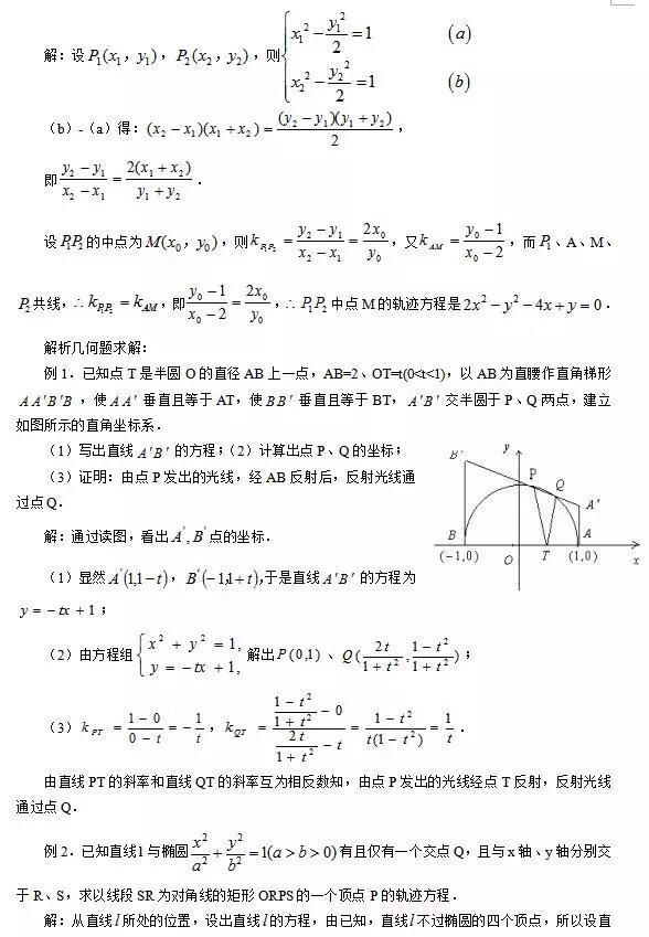 圆锥曲线问题解题方法